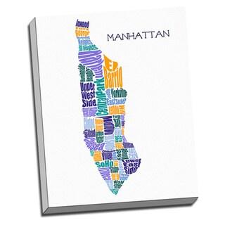 'Manhattan Typography Map' Wall Art