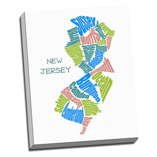'New Jersey Typography Map' Wall Art