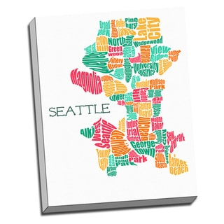 'Seattle Typography Map' Wall Art