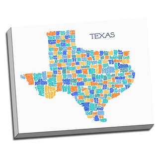 'Texas Typography Map' Wall Art