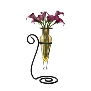 Amber Amphora Glass Flower Vase on Swirl Metal Stand