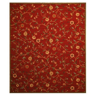 Red Transitional Floral Euro Home Rug (4'3 x 5'10)