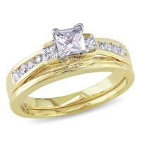 Miadora 14k Yellow Gold White Topaz 1/3ct Diamond Bridal Ring Set