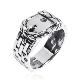 Handmade Sleek Belt Buckle Braided Band .925 Sterling Silver Ring (Thailand)