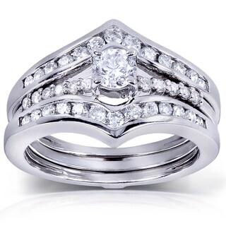 Annello by Kobelli 14k White Gold 3/4 ct TDW Round-Cut Diamond Insert Bridal Set (H-I, I1