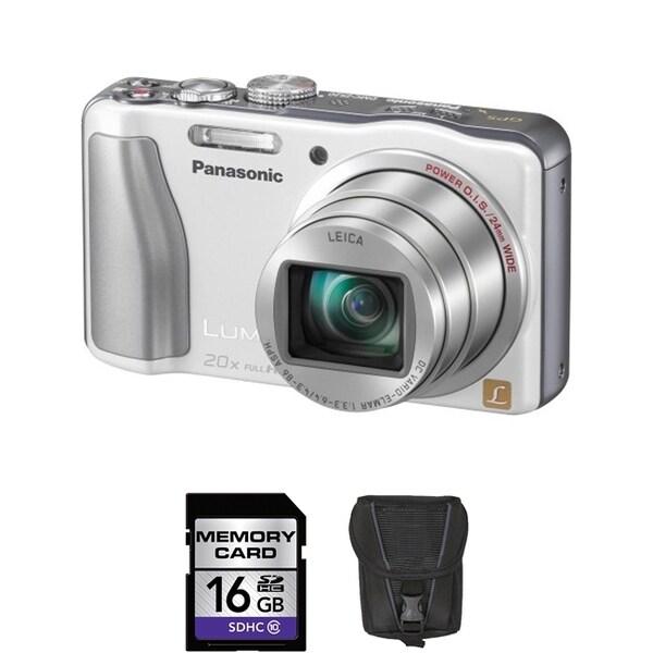 Panasonic Lumix DMC-ZS20 14.1MP White Digital Camera 16GB Bundle
