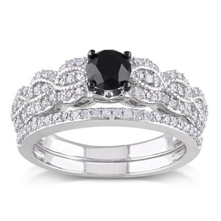Miadora Sterling Silver 1ct TDW Black and White Diamond Infinity Engagement Ring Wedding Band Bridal