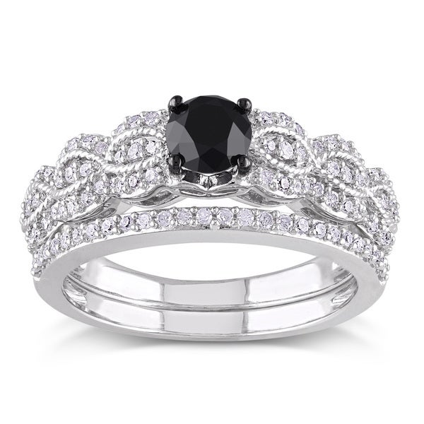 Miadora Sterling Silver 1ct TDW Black and White Diamond Infinity Engagement Ring Wedding Band Bridal. Opens flyout.