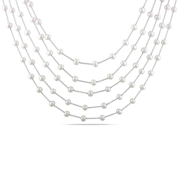 Miadora Sterling Silver White Pearl 5-strand Necklace (4-5 mm)