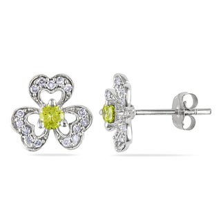 Miadora 14k White Gold 1/3ct TDW Yellow and White Diamond Flower Earrings
