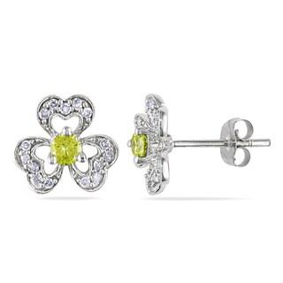 Miadora 14k White Gold 1/3ct TDW Yellow and White Diamond Flower Earrings