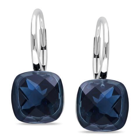 Miadora 14k White Gold London Blue Topaz Earrings