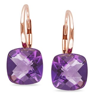 Miadora 14k Rose Gold Amethyst Earrings