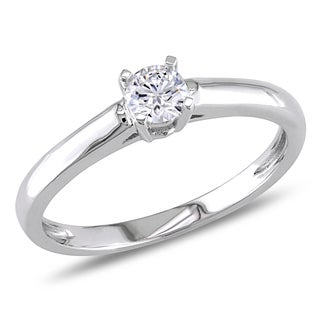Miadora 14k White Gold 1 4ct TDW Round Cut Diamond Solitaire Engagement Ring