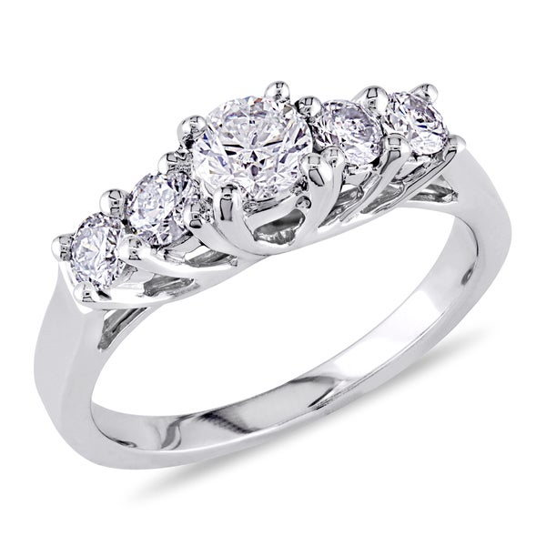 Miadora Signature Collection 14k White Gold 7/8ct TDW Diamond Engagement Ring