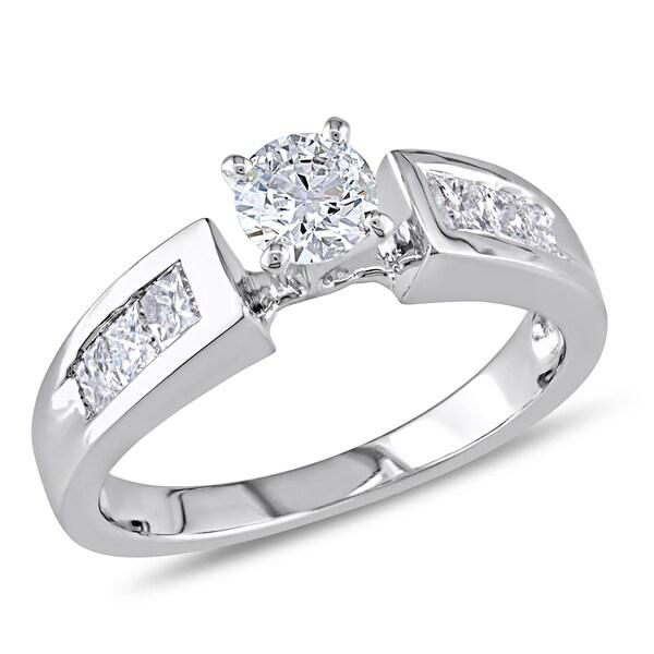Miadora 18k White Gold 3/4ct TDW Diamond Engagement Ring (H-I, I1-I2)
