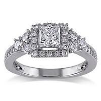 Miadora Signature Collection 14k White Gold 1ct TDW Princess-cut Diamond Ring