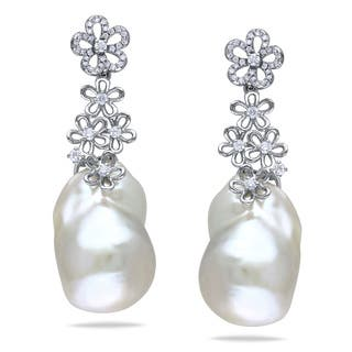 Miadora Signature Collection 14k White Gold Cultured Freshwater Pearl/ 1/2ct TDW Diamond Earrings (G-H, SI1-SI2) (14.5-1|https://ak1.ostkcdn.com/images/products/8409639/8409639/Miadora-14k-White-Gold-Pearl-and-1-2ct-TDW-Diamond-Earrings-G-H-SI1-SI2-14.5-15-mm-P15709201.jpg?impolicy=medium