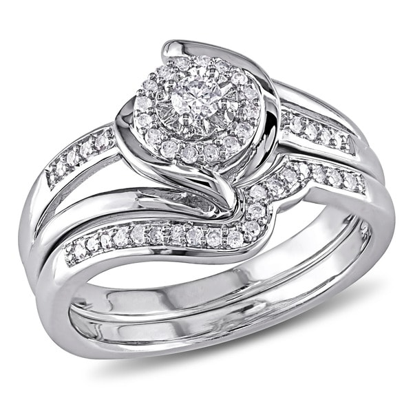 miadora sterling silver 14ct tdw diamond halo bridal ring set - Halo Wedding Ring Set