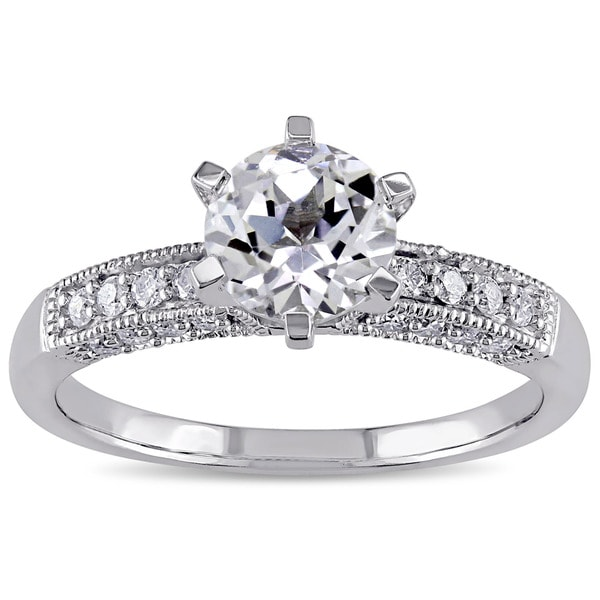 Miadora 10k White Gold Created White Sapphire and 1/4ct TDW Diamond Vintage Engagement Ring (G-H, I2
