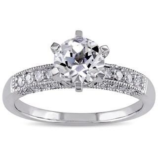 Miadora 10k White Gold Created White Sapphire and 1/4ct TDW Diamond Vintage Engagement Ring (G-H, I2