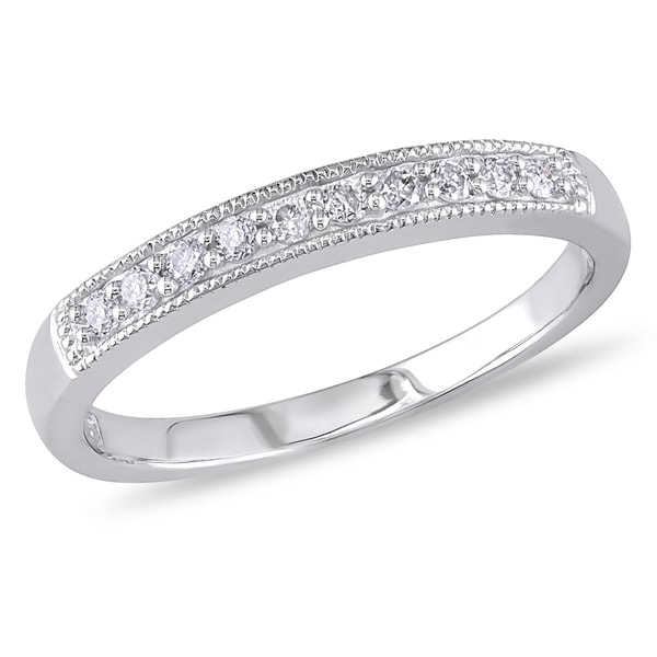 Miadora 10k White Gold 1 10ct TDW Diamond Wedding Band H I I2 I3 Free Sh