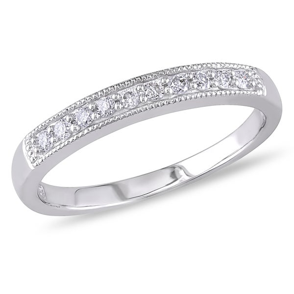 Miadora 10k White Gold 1/10ct TDW Diamond Wedding Band (H-I, I2-I3)