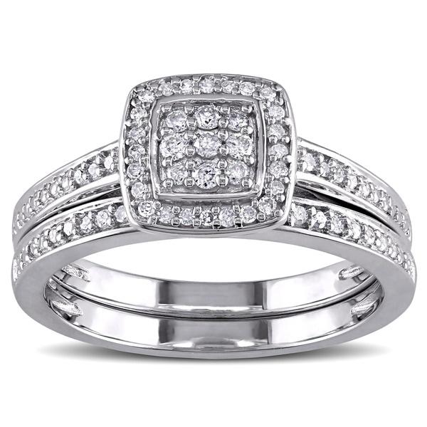 Sterling Silver 1/4ct TDW Diamond Grid Square Halo Bridal Ring Set by Miadora