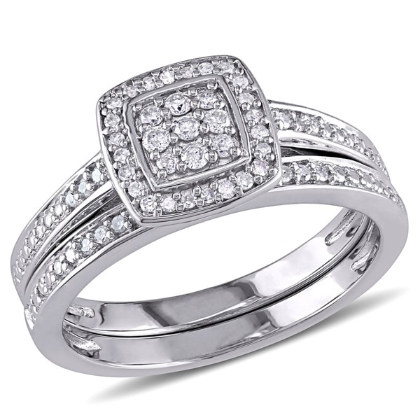 miadora sterling silver 14ct tdw diamond halo cluster bridal ring set - Halo Wedding Ring Set