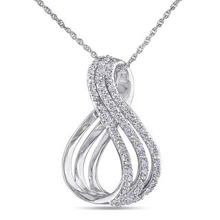 Miadora 10k White Gold 1/4ct TDW Diamond Infinity Necklace