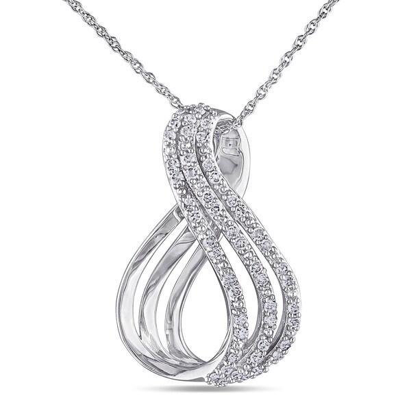 Miadora 10k White Gold 1/4ct TDW Diamond Infinity Necklace (H-I, I2-I3)
