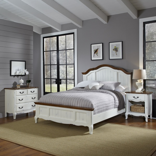 Greyson Living Laguna Antique White Panel Bed 6piece: The French Countryside Queen Bed, Night Stand, And Chest
