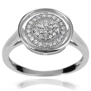 Journee Collection Sterling Silver White Cubic Zirconia Halo Ring