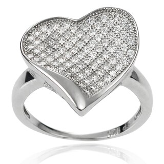 Journee Collection Women's Sterling Silver Cubic Zirconia Heart Ring