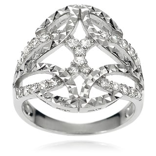 Journee Collection Women's Sterling Silver Cubic Zirconia Celtic Knot Ring
