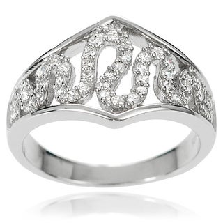 Journee Collection Sterling Silver White Cubic Zirconia Wave-style Ring