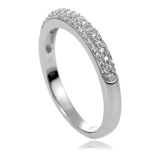 Journee Collection Sterling Silver White Pave-set Cubic Zirconia Ring