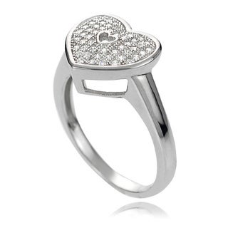 Journee Collection Sterling Silver White Cubic Zirconia Heart Ring