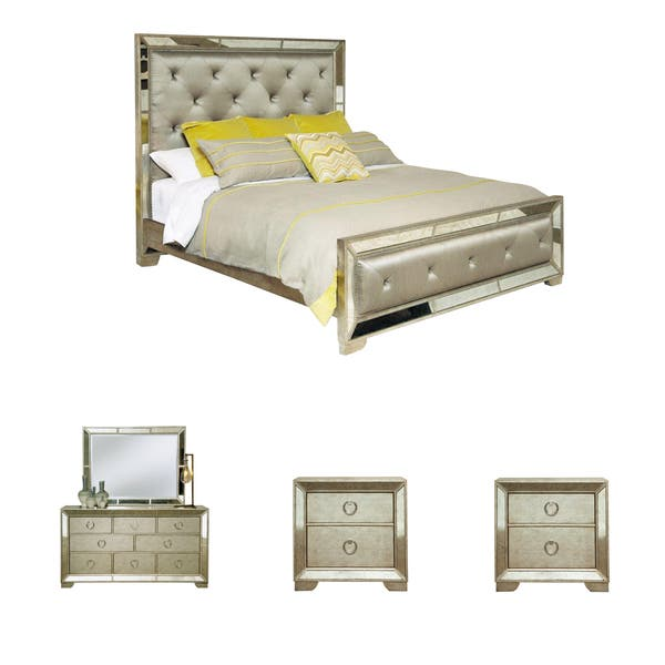 Celine 5 Piece Mirrored And Upholstered Tufted Queen Size Bedroom Set On Sale Overstock 8409729