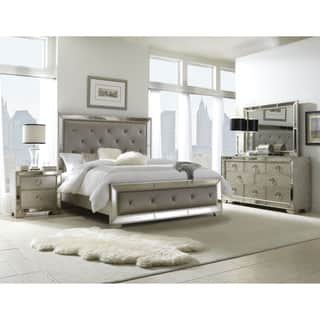 Celine 5 piece Mirrored and Upholstered Tufted Queen size Bedroom Set. Bedroom Sets For Less   Overstock com