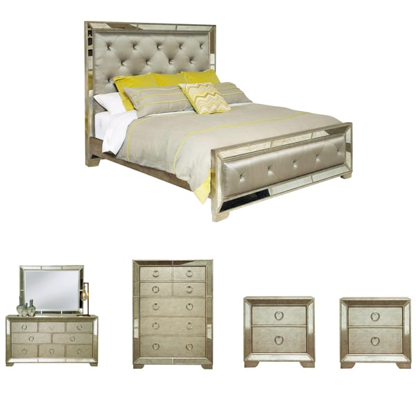 Celine 6 Piece Mirrored And Upholstered Tufted Queen Size Bedroom Set    Free Shipping Today   Overstock.com   15709230