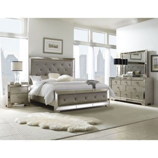 Celine 6 Piece Mirrored And Upholstered Tufted Queen Size Bedroom Set