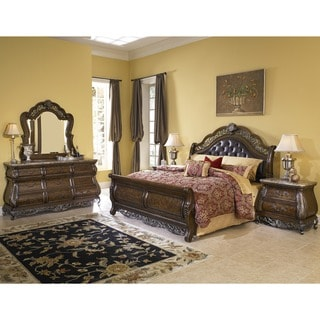 Bella 5-piece Chestnut Finish Tufted Leather Queen-size Bedroom Set