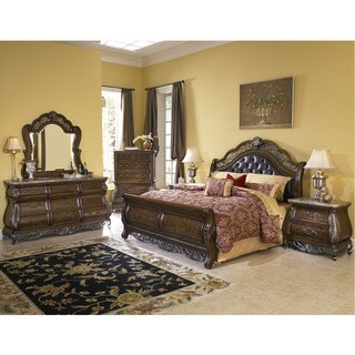 Bella 6-piece Chestnut Finish Tufted Leather King-size Bedroom Set