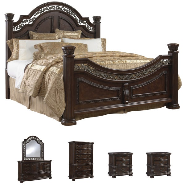 Shop tuscany 6 piece mocha finish king size bedroom set free shipping today for 6 piece king size bedroom sets