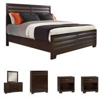 Parker 6-piece Espresso Finish Louvered Panel Queen-size Bedroom Set