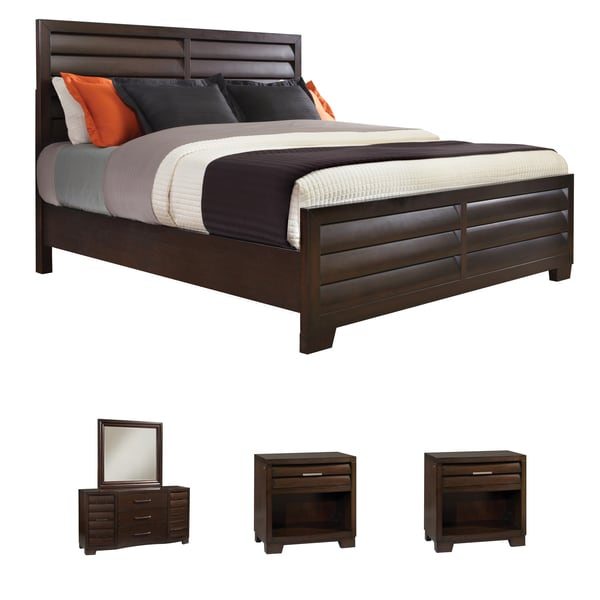 Shop Parker 5 Piece Espresso Finish Louvered Panel King Size Bedroom Set On Sale Free