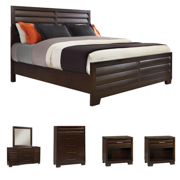 Parker 6 Piece Espresso Finish Louvered Panel King Size Bedroom Set Free Shipping Today