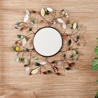 The Gray Barn Jartop Decorative Metallic Leaf Wall Mirror