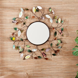 Copper Grove Kitty Decorative Metallic Leaf Wall Mirror